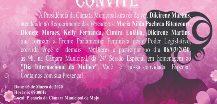 Convite para 24ª Sessão Especial em homenagem ao Dia Internacional da Mulher